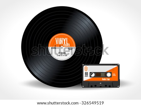 Realistic orange audio cassette with magnetic tape, vintage object isolated on white Stock photo © evgeny89