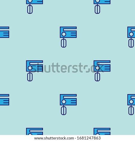 ミキサー キッチン パターン ベクトル シームレス 青 ストックフォト © natali_brill