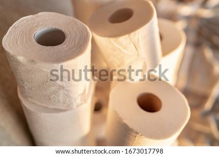 Wiele papier toaletowy domu panika zakupu Zdjęcia stock © Maridav