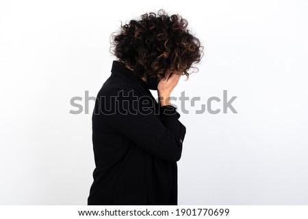 ストレス ビジネス女性 泣い 顔 マスク 手 ストックフォト © Maridav