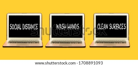COVID-19 health hygiene guidelines. Rules, social distancing, wash hands often, clean surfaces, sani Stock photo © Maridav