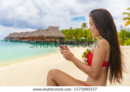 Bora Bora luxury vacation beautiful Asian tourist woman on Tahiti French Polynesia cruise ship trave Stock photo © Maridav