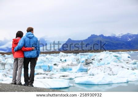 Islandia turystycznych kobieta cel punkt orientacyjny Zdjęcia stock © Maridav