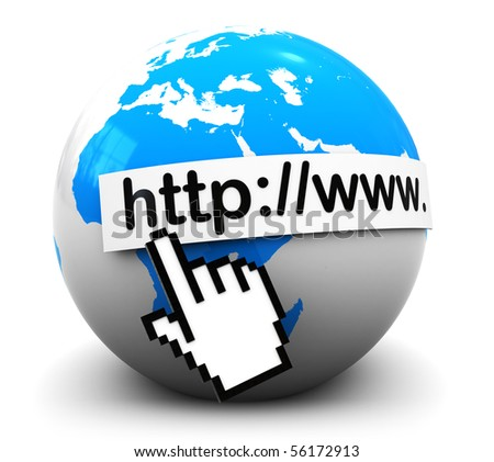 Stockfoto: 3d · illustration · aarde · wereldbol · muis · cursor · witte