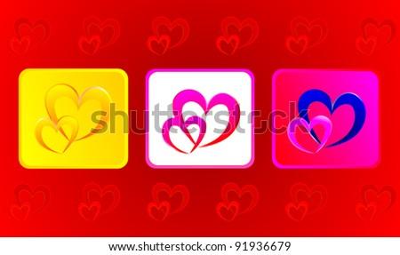 Deux coeurs illustration trois rouge amour Photo stock © AndreyKr