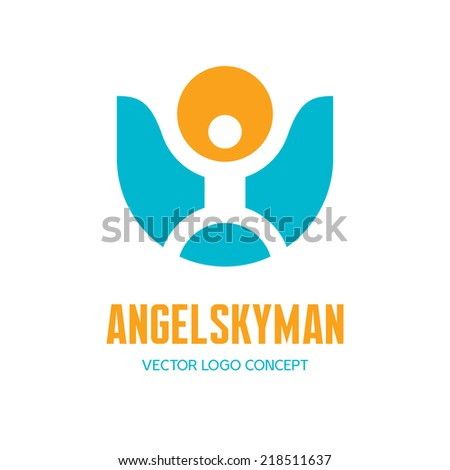 Winged human figures. Vector logo template set. Elements for des stock photo © ussr