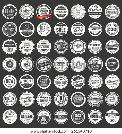 Collection of Premium Quality and Guarantee Labels with retro vi Stock photo © havlin_levente