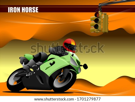Abstract hi-tech background. Desert with motorcycle image. Vecto stock photo © leonido