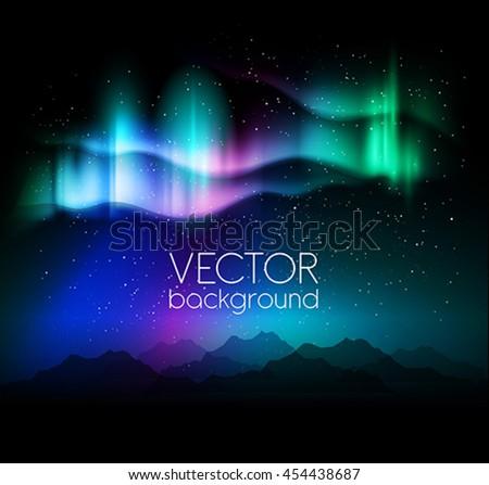 abstract green colored aurora borealis lights vector background stock photo © lenapix