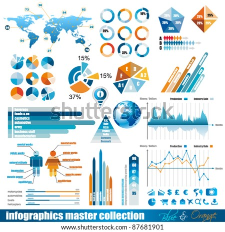 Premium infographics master collection: graphs, histograms, arrows, chart, 3D globe, icons and a lot Stock photo © DavidArts