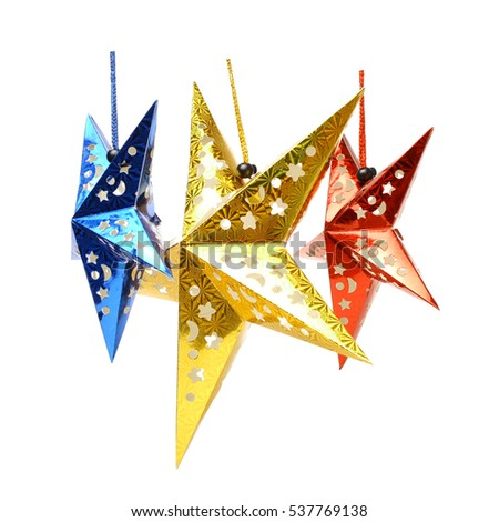 Red five pointed star christmas decoration for haging on tree Stock photo © ozaiachin