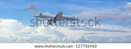 landing · bewolkt · hemel · panoramisch · Blauw - stockfoto © moses