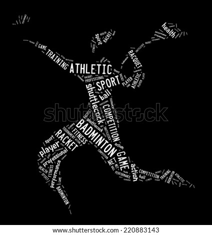 badminton player pictogram with black color words on white backg stock photo © seiksoon