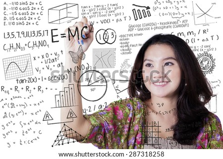 High School students. Beautiful girl calculating numbers in clas stock photo © HASLOO