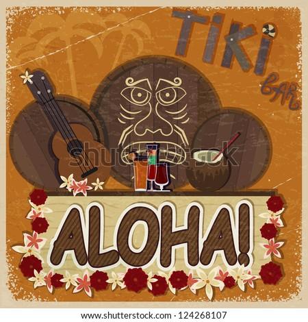 Vintage orange card - signboard tiki bar - with the image ukulel Stock photo © Larser