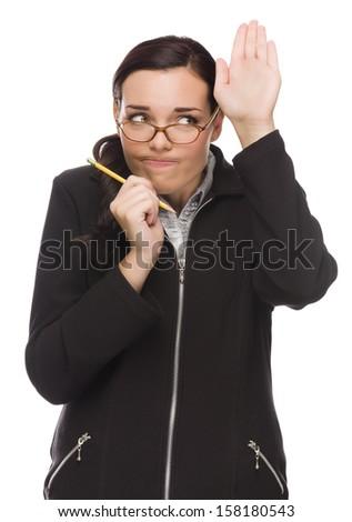 робкий деловая женщина стороны просить вопросе Сток-фото © feverpitch