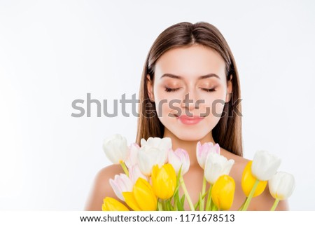 Femininity and spa - young beautiful tender woman smelling lily  Stock photo © HASLOO