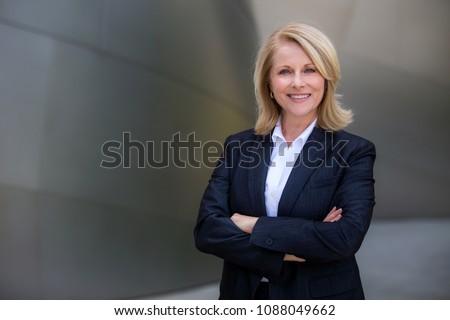 Loiro mulher de negócios retrato azul jaqueta branco Foto stock © w20er