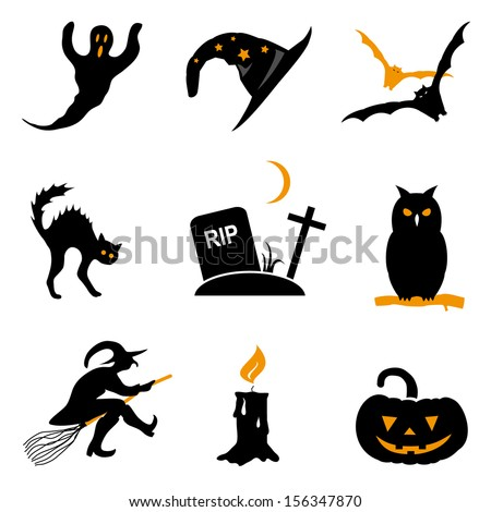 vector illustration gravestone with a witch hat and broom halloween stock photo © glenofobiya