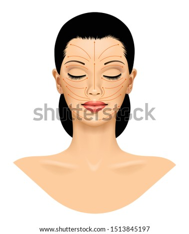 Stock photo: Beautiful young girl with facial care arrow signs of damaged ski