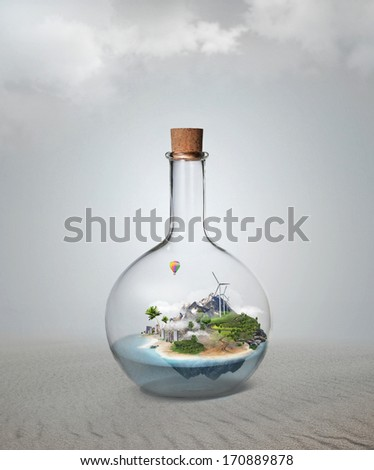 Corked glass bottle with beautiful island and sea inside. Confid Stock photo © hasloo