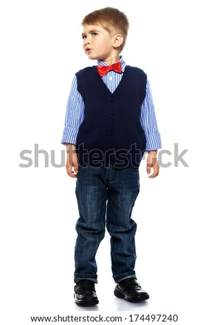 Little boy in blue vest with red bow tie isolated on white background  Stock photo © Nejron