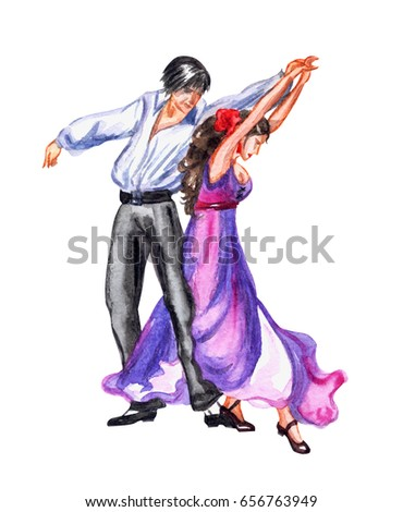 Beautiful young pair dancing flamenco isolated on white. Vector  Stock photo © leonido