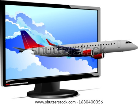 Flat computer monitor with passanger plane image. Display. Vecto Stock photo © leonido