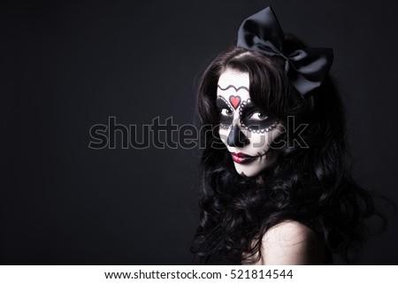Gyönyörű kreatív arc festék nap halott Stock fotó © tobkatrina