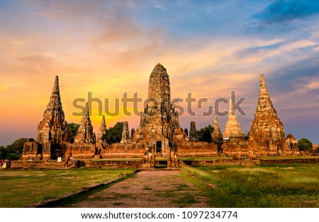 Thai temple sunset, the historical temple in Ayutthaya, Thailand Stock photo © Witthaya