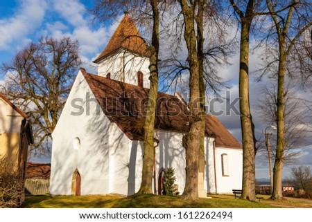 old village christian chapel or church in czech republic - mirror in green water Stock photo © jarin13