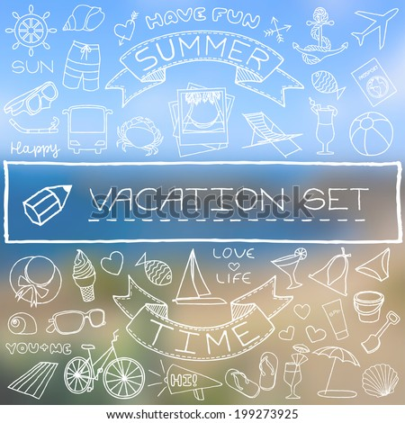 Nautical Icons background with blurred label Stock photo © vectorikart