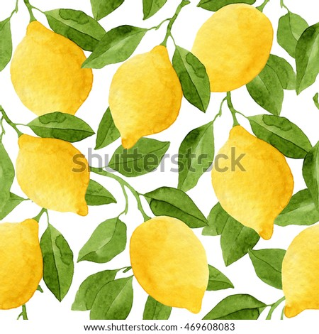 Seamless Lemon tree branch, watercolor painting on white background, vector illustration. Stock photo © mcherevan