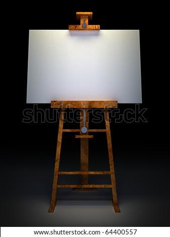 Houten schildersezel schilderij doek geïsoleerd zwarte Stockfoto © stevanovicigor