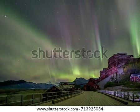 Wrangell Mountains Northern Lights Aurora Borealis Alaska Night  Stock photo © cboswell