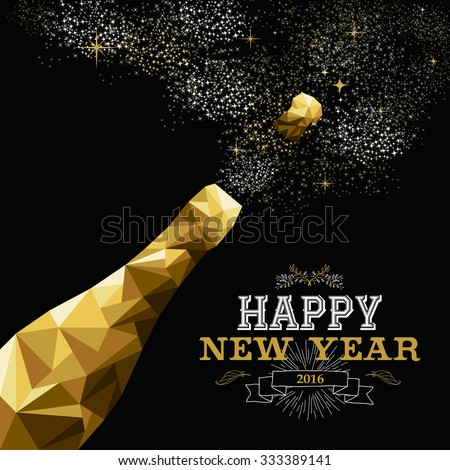 Happy New year 2016. golden card with champagne, vector illustration Stock photo © carodi
