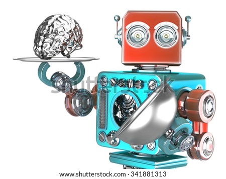 robot with tray and human brain artificial intelligence concept isolated contains clipping path stock photo © kirill_m