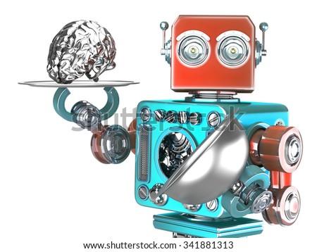 ストックフォト: ロボット · トレイ · 人間の脳 · 人工知能 · 孤立した