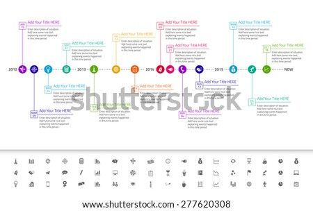 Modern flat timeline with exact date and milestones with icons and rainbow colors Stock photo © liliwhite