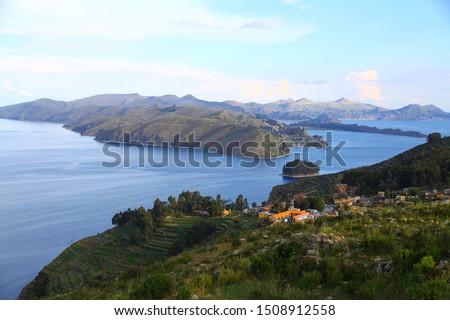 view to Titicaca lake at  Isla del Sol with small village Yumani Stock photo © meinzahn