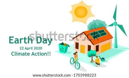 22 día de la tierra verde tierra viento energía Foto stock © orensila