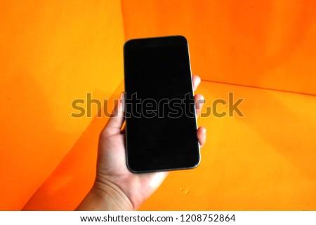 Mão telefone vazio nuvem masculino Foto stock © ra2studio