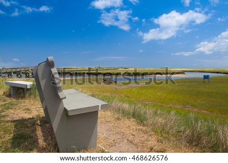 Stock photo: Concrete bench near the walkway to the dunes.Sandwich, Massachus