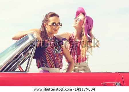 beautiful woman sitting in cabriolet fashionable lifestyle conc stock photo © vlad_star