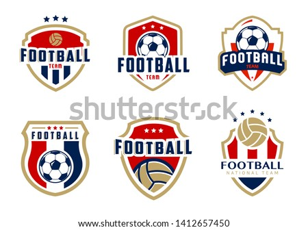 American football goal, college league football badge, sport pub logo, label, football insignia in r Stock photo © JeksonGraphics