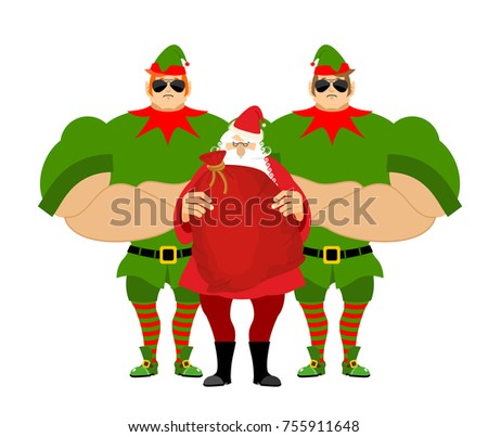 Santa Elf bodyguards. Christmas guards. Protecting new year. Def Stock photo © popaukropa