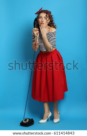 woman wearing elegant skirt and red high heel shoes in old town stock photo © vlad_star