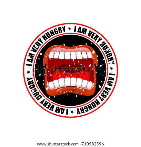 I am very hungry logo. Open mouth and teeth. Emblem for restaura Stock photo © MaryValery