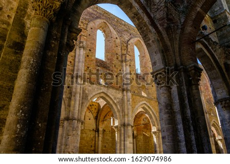 Internal view of the ruins of Medieval San Galgano Abbey near Siena, Italy Stock photo © bubutu