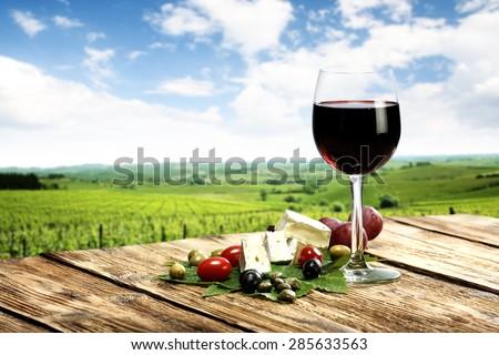 Uva queijo vidro vinho branco verde turva Foto stock © Yatsenko